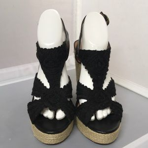 Lucky Brand Black Knit Wedge Sandals
